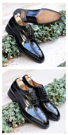 Black Polish, Goodyear Welt, Natural Leather, Oxfords, Oxford Shoes, Dress Shoes, Cap, Couture, Collection