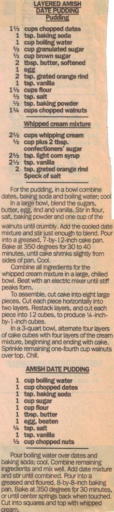 Layered Amish Date Pudding Recipe