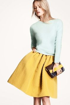 "Oversized Skirt — In a knee- or midi-length, an ""oversized skirt"" features a full A-line silhouette that calls for '50s-chic shrunken sweaters and cardigans. Mix your color families (pastels and jewel tones, fluroscents and neutrals) for a modern spin."