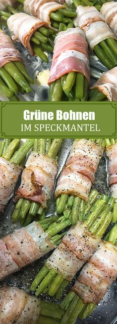 Green beans wrapped in bacon Grüne Bohnen im Speckmantel Gruene Bohnen im Speckmantel chilirezept. Sauteed Asparagus Recipe, Asparagus Side Dish, Oven Roasted Asparagus, Grilled Asparagus, Green Bean Wrapped In Bacon Recipe, Appetizer Recipes, Dinner Recipes, Parmesan Green Beans, Vegetable Soup Healthy