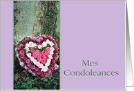 French Sympathy card Mes Condoleances - Pink heart rose bouquet near tree Card by Greeting Card Universe. $3.00. 5 x 7 inch premium quality folded paper greeting card. Find Sympathy cards for everyone on your list at Greeting Card Universe. We will mail the cards to you or direct to your loved ones. Look no further than Greeting Card Universe for your Sympathy card needs. This paper card includes the following themes: photo, photography, and studio porto sabbia...