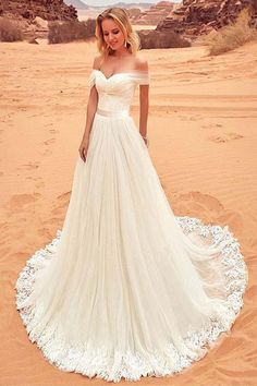 Wedding Dresses Sexy Off-the-shoulder Sweep/Brush Train #weddingdresses #sexydresses #longweddingdresses #2018weddingdress