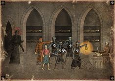 This is a series of illustrations that imitates the style of old medieval paintings and adds a macabre flavour by incorporating some of H.P. Lovecraft's famous monsters. The text is mostly medieval Middle High German.