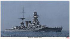 The japanese battleship Nagato, in her intermediate guise in 1931.