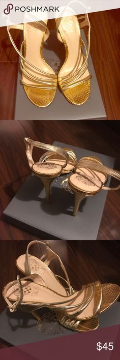 """Golden sandals Vince Camuto Used once ,3"""" heel. Offers welcome hit the Offer button 👇🏼👇🏼👇🏼👇🏼👇🏼👇🏼👇🏼👇🏼👇🏼 Vince Camuto Shoes Heels"""