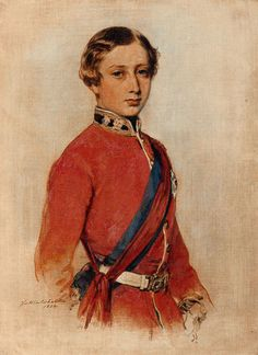 A portrait of Prince Albert Edward child of Victoria and Albert) when Prince of Wales (later became King Edward), An oil-on-canvas sketch by Franz Xaver Winterhalter, showing the prince wearing his Colonel's uniform. Franz Xaver Winterhalter, Queen Victoria Children, Queen Victoria Prince Albert, Victoria And Albert, Buckingham Palace, Princess Alexandra Of Denmark, Princess Louise, Royal Collection Trust, King Edward Vii
