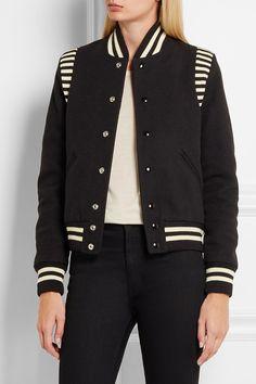 SAINT LAURENT Striped jersey-trimmed wool-blend piqué bomber jacket
