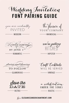 Wedding Invitation Font and Pairing Guide from Elegance and Enchantment // Great combinations of script