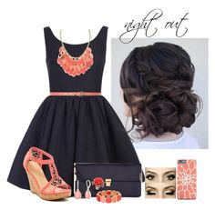 """""""night out"""" by aubreyspringer ❤ liked on Polyvore featuring Kiss & Tell, New Look, Accessorize, Vintage America, Monet and Mawi"""