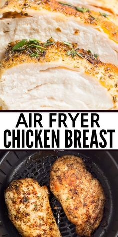 Easy Air Fryer Chicken Breast Recipe that makes great healthy juicy rotisserie s. - Easy Air Fryer Chicken Breast Recipe that makes great healthy juicy rotisserie style chicken at hom - Air Fryer Oven Recipes, Air Fryer Dinner Recipes, Air Fryer Chicken Recipes, Chicken Breast Air Fryer Recipe, Recipes With Chicken Breast Easy, Air Fryer Rotisserie Recipes, Easy Chicken Breast Dinner, Chicken Breats Recipes, Air Fryer Recipes Gluten Free