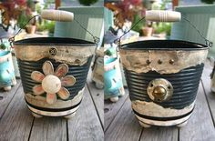 Recycled Tin cans into cute holders