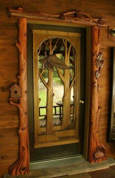 Gorgeous hand-carved front door display