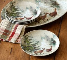 Deer in Snow Salad Plate, Set of 4 at Pottery Barn--winter/Christmas dishes?