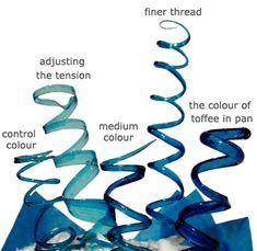 From one pot of coloured toffee you can produce different shades of colour. Thicker springs have the most intense colour, create thick, thin and medium for varying shades. By adjusting the tension and using a pulling/stretching motion when making a spring will result in a pale ribbon like finish.