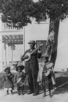 Blind Black Man Plays Banjo With Children 4x6 Reprint Of Old Photo