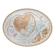 A Heart of Rose Gold Western Belt Buckle (11400RG) ❤ liked on Polyvore featuring accessories, belts, buckle belt, ribbon belt, engraved belts, western buckle belt and cowgirl belts