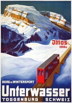 Berg u. Wintersport. Unterwasser. Toggenburg. Schweiz. 1934. Plakat von Carl Moos.