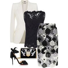 A fashion look from February 2017 featuring Dolce&Gabbana blouses, Alexander McQueen blazers and True Decadence skirts. Browse and shop related looks. Komplette Outfits, Classy Outfits, Stylish Outfits, Fashion Outfits, Womens Fashion, Fashion Trends, Work Fashion, Modest Fashion, Fashion Looks