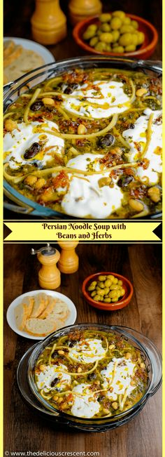Persian Noodle Soup with Beans and Herbs – A classic Persian soup, intensely aromatic, lip smacking, nutrient rich and a wholesome meal by itself! This heart healthy soup traditionally known as Ash-e Reshteh, is perhaps the most popular Persian soup. Real Food Recipes, Soup Recipes, Cooking Recipes, Yummy Food, Healthy Recipes, Heart Healthy Soup, Middle Eastern Recipes, Middle Eastern Vegetarian Recipes, Noodle Soup