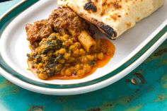 Chana Dal with Curried Lamb on the bone, with naan bread.