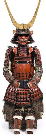 Bonhams : A red lacquer armor with a nuinobu do Edo period (late 17th century)