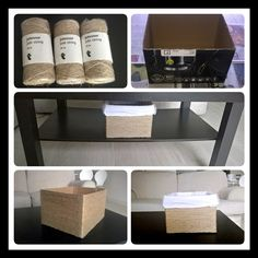 Jute String Box Upcycle Recycle Reuse Cardboard box Homemade DIY