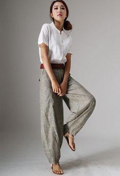 Maxi linen pants baggy pants for women Baggy Pants, Soft Pants, Trousers, Summer Pants, Summer Shirts, Linen Pants Women, Pants For Women, White Linen Shirt, Short Tops