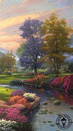 who is the painter? Fantasy Landscape, Landscape Art, Landscape Paintings, Oil Paintings, Beautiful Paintings, Beautiful Landscapes, Thomas Kinkade Art, Kinkade Paintings, Fantastic Art