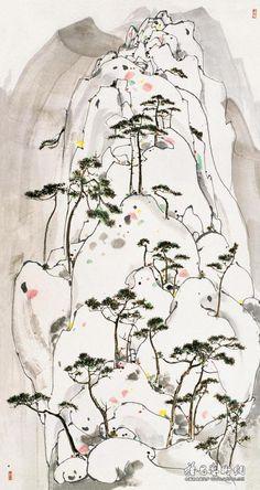 吴冠中 崂山松石 1987
