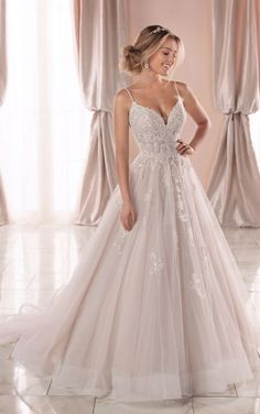 Dream Wedding Dresses Lace Sparkly Ballgown with Glitter Tulle - Stella York Wedding Dresses.Dream Wedding Dresses Lace Sparkly Ballgown with Glitter Tulle - Stella York Wedding Dresses Wedding Dresses With Straps, Cute Wedding Dress, Princess Wedding Dresses, Dream Wedding Dresses, Bridal Dresses, Wedding Dress Sparkle, Tulle Wedding Gown, Wedding Dresses Stella York, Klienfeld Wedding Dresses