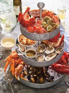 Try this impressive tiered seafood platter. Try this impressive tiered seafood platter. Shellfish Recipes, Seafood Recipes, Cooking Recipes, Healthy Recipes, Seafood Place, Seafood Tower, Seafood Party, Ricardo Recipe, Mouth Watering Food