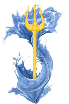 I'd like water/waves surrounding my trident/anchor connecting to my bird and compass rose...