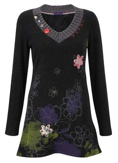 Joe Browns Unique Printed Tunic - You won't want to wear a coat with this lovely knitted tunic. Bright buttons, blue print detail and sparkly appliqué make it too glam to cover up. £39. @Joe Browns
