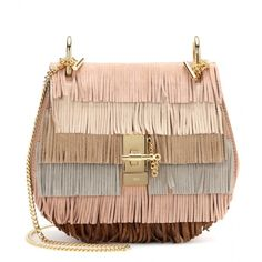 Chloé Drew Fringed Suede Shoulder Bag (7.270 RON) ❤ liked on Polyvore featuring bags, handbags, shoulder bags, fringe, purses, borse, neutrals, suede handbags, chloe handbags and suede shoulder bag