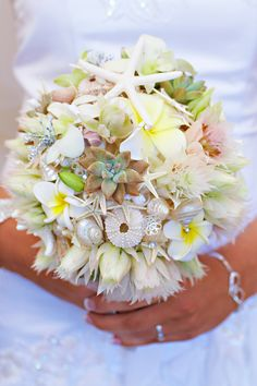 Barefoot Casual Beach Wedding in Forster NSW by Bella Photo Art - bridal bouquet accented with shells and starfish Seashell Wedding, Nautical Wedding, Seashell Bouquet, Beach Wedding Bouquets, Wedding Beach, Bridal Bouquets, Summer Wedding, Bridal Flowers, Beach Wedding Inspiration