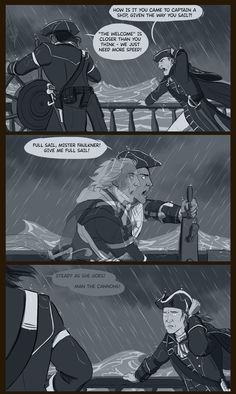 Haytham being reminded of his father, Edward Kenway through his sonX Connor. Assassin's Creed.