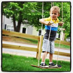 This will really make your kids smile! A skateboard swing for lots of fun.