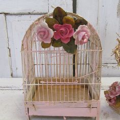 Pink distressed birdcage w/ porcelain roses hand painted shabby cottage chic gold accented bird cage home decor anita spero design by AnitaSperoDesign on Etsy https://www.etsy.com/listing/116205940/pink-distressed-birdcage-w-porcelain