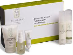 """FREE Mother's Day gift (yes, you get a FREE gift just for entering the Mother's Day Contest) Nurigene Skin Care Kit (5pc, two month supply) Hydrating Cleanser- 4oz Activating Serum- 1fl oz Intensive Treatment- .75 oz Nourishing Daytime Lotion- 1.7fl oz Regenerating Nighttime Emulsion- 1.7fl oz Enter the """"Tell us how your Mom earned her wrinkles"""" Contest at http://promoshq.wildfireapp.com/website/6/contests/320181 $89.95 value"""