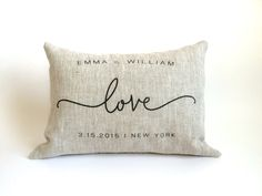 Handmade Personalized Love Pillow,Pre-washed Linen Cushion, Anniversary, Bridal Shower, Christmas, Holiday Gift, PILLOW INSERT INCLUDED by yunandyoonie on Etsy https://www.etsy.com/listing/228136464/handmade-personalized-love-pillowpre