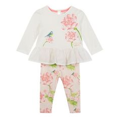 79fb6be48 Baker by Ted Baker Babies white floral printed top and leggings set