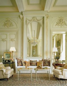 Very Grand. Very European and French..using old techniques for a very traditional room; magnificent millwork and trim work totally over the top and I love it Timothy Corrigan Interiors - Design Chic