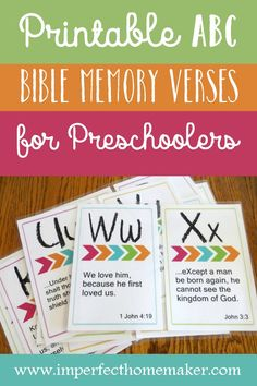 Free printable ABC memory verses for preschoolers. These attractively designed flashcards have verses that are just the right length for young children. All scriptures are taken from the King James Version of the Bible. Bible Verses For Kids, Bible Study For Kids, Preschool Bible Verses, Kids Memory Verses, Memory Verse Games, Preschool Binder, Toddler Bible, Bible Teachings, Kids Church