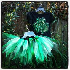 Green and Black shirt and tutu set-outfit - infant baby toddler girl - St Patricks Day  on Etsy, $21.00