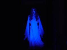 Paint anything with diluted laundry detergent that contains phosphorus/bleach.  Turn on black light to make an eerie blue glow