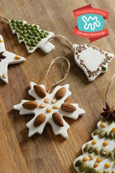 Learn how to make classic salt dough ornaments with an organic twist, using basic pantry staples like seeds, nuts and lentils. You can use these on the tree, as small gifts, or outside as festive bird feeders. A cute way to be creative this holiday season.