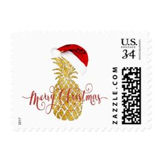 merry christmas gold foil look pineapple postage