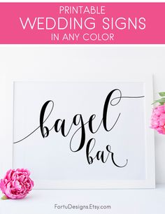 Bagel bar sign - Gorgeous bridal shower sign. Bagel bar brunch ideas. SHOP now at FortuDesigns. CLICK to find out more >>>> #Bagelbar #brunchideas #Bagelsign