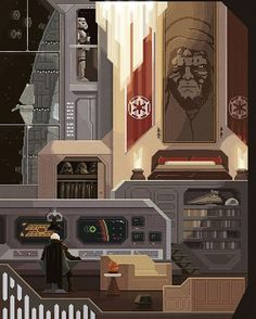 The Dark Side wishes you a great weekend!! :) Scene #16: 'Imperial News' #PixelsHuh #Welcome2017 #pixelart #art #illustration #digital #painting #starwars #darthvader #stormtrooper #imperialshuttle by pixelshuh_official