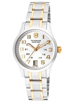 $313.50 FREE SHIPPING  Swiss Army Women's Alliance Silver Dial Two Tone 241326  A great design. This is a perfect timepiece for everyday wear. Provides a dressy look with a sporty feel. This product is only available to ship within the U.S.